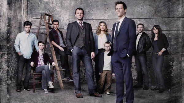 The Following cast with Zea in the centre between James Purefoy and Kevin Bacon