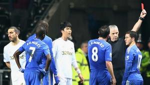Eden Hazard was shown a red card at the Liberty Stadium