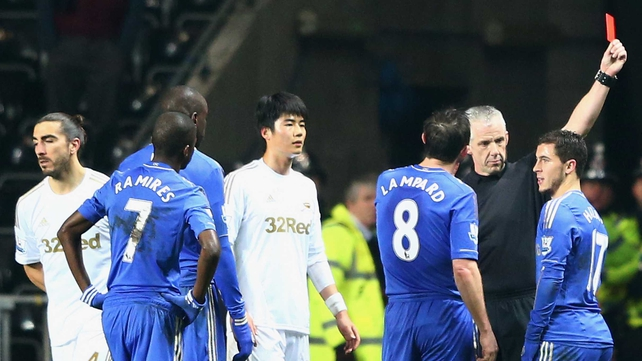 Eden Hazard was shown a red card at the Liberty Stadium