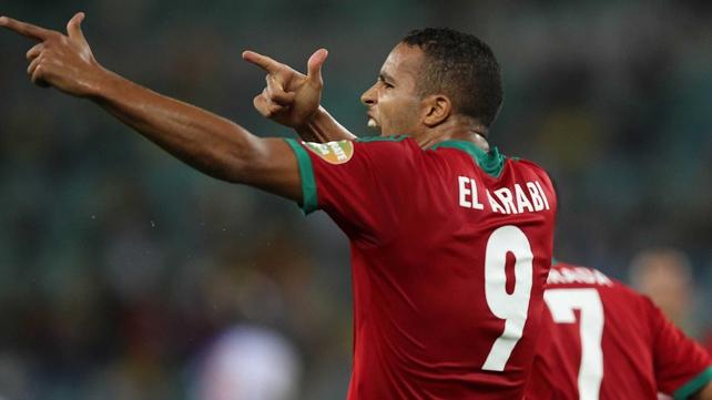 Youssef el Arabi of Morocco celebrates his goal