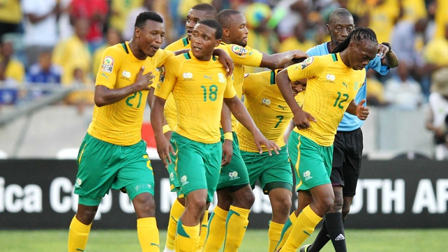 South Africa celebrate their second goal