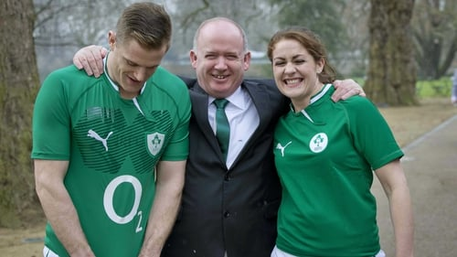 Declan Kidney with men's captain Jamie Heaslip and women's captain Fiona Coghlan at yesterday's RBS Six Nations launch in London