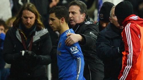 Eden Hazard was sent off as Chelsea were beaten in the Capital One Cup semi-finals