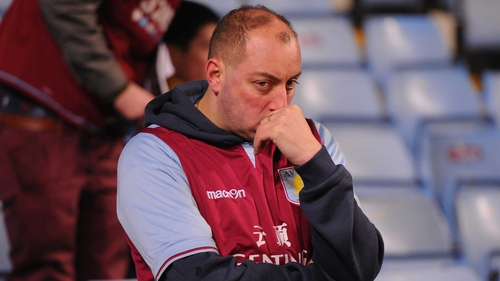 Aston Villa fans were dejected after losing to League Two side Bradford