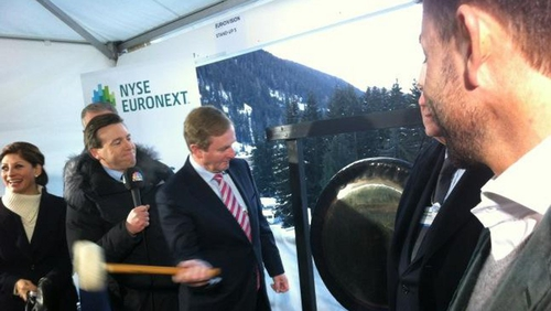 Mr Kenny opened the European Stock Markets at the CNBC tent in Davos