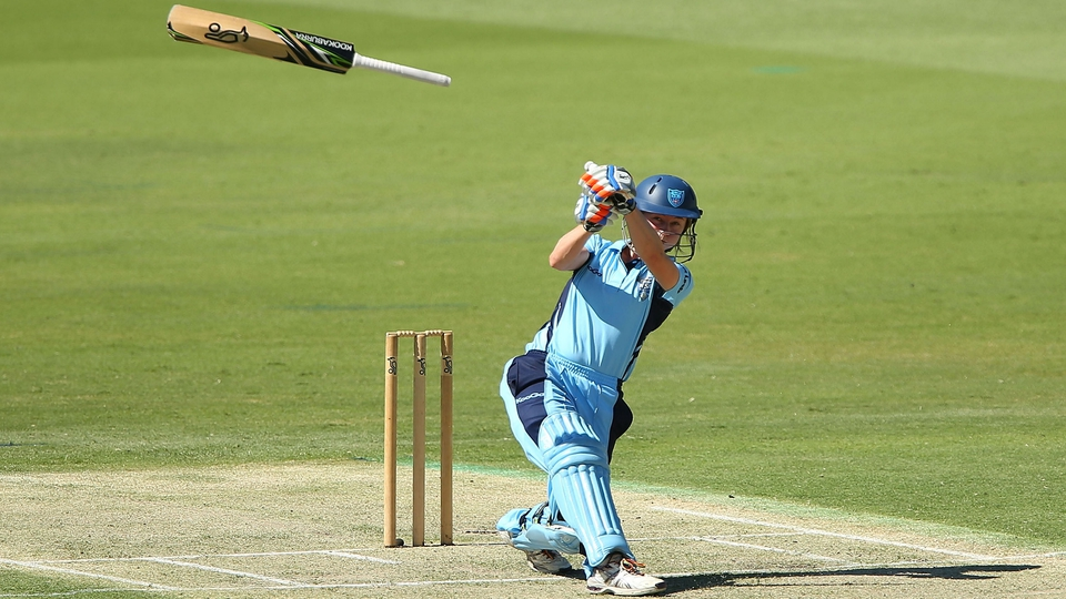 Rachael Haynes goes into baseball mode as her bat flies during the Twenty20 final between the NSW Breakers and the Western Australia Fury at the WACA