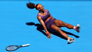 Serena Williams injures her ankle on her way to beating Edina Gallovits-Hall of Romania in the first round of the Australian Open