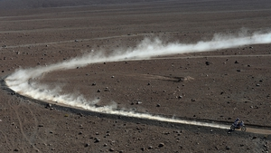 Francesco Chaleco Lopez Contardo of Chile competes at the Dakar Rally en route from Copiapo to La Serena