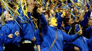 Christ King Secondary School pupils cheer on their side against Mercy Mounthawk Secondary School  from Kerry at the All-Ireland Basketball Schools Cup finals at the National Basketball Arena in Tallaght