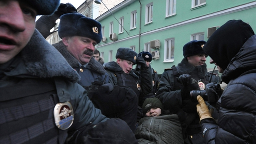 Police said 20 people were arrested amid protests outside the Duma