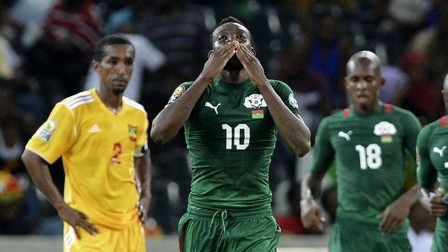 Alain Traore celebrates his goal for Burkina Faso