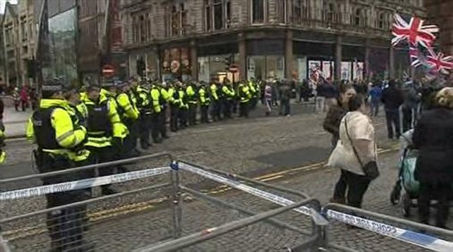 Peaceful protest held in Belfast over Union flag