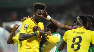 Emmanuel Adebayor celebrates his first-half goal