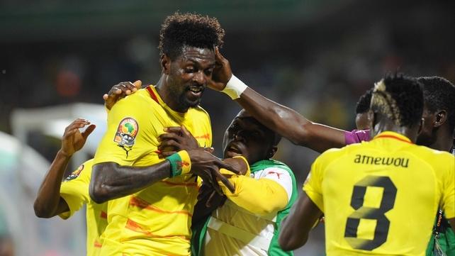 Emmanuel Adebayor celebrates his first-half goal