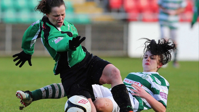 Peamount's Sara Lawlor and Jessica Dillon of Rovers