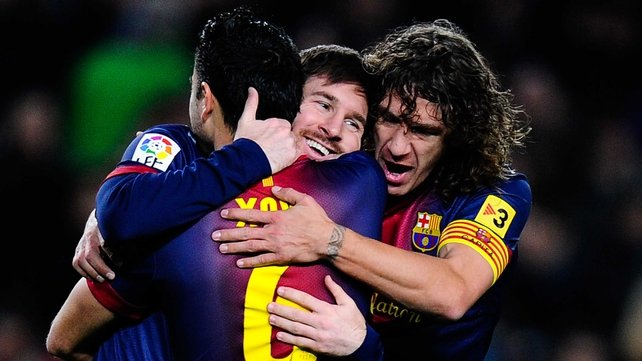Xavi, Messi and Puyol are back to winning ways after last weekend's defeat to Real Sociedad