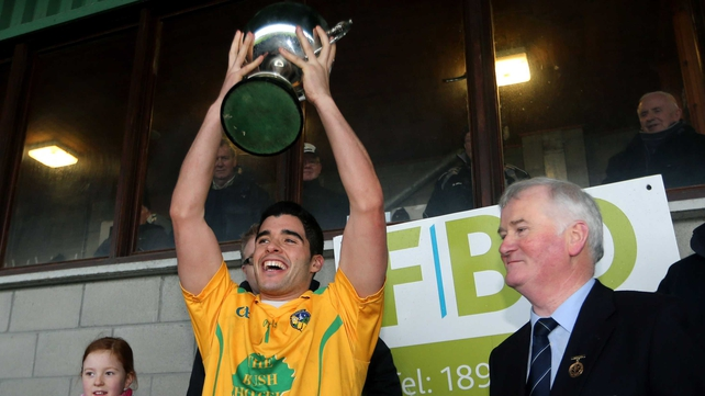 Emlyn Mulligan lifts the FBD Connacht League trophy