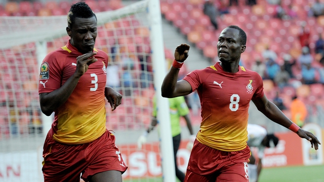Agyemang Badu (R) celebrates with Asamoah Gyan - who was also among the goal scorers for Ghana