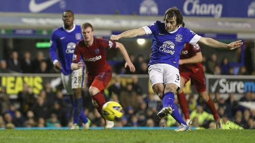 Leighton Baines converted yet another penalty for the Toffees as West Brom suffered another Premier League defeat