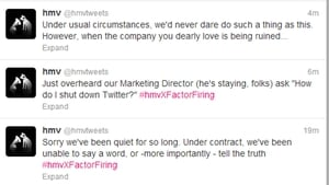 HMV's 62,561 Twitter followers learned that the staff were to lose their jobs as it happened
