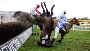 Peter Buchanan falls from Bold Sir Brian in The Murphy Group Steeple Chase at Cheltenham racecourse