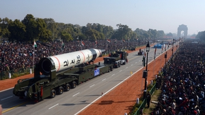 An Agni V missile is shown at India's 64th Republic Day parade celebration at Raj path in New Delhi