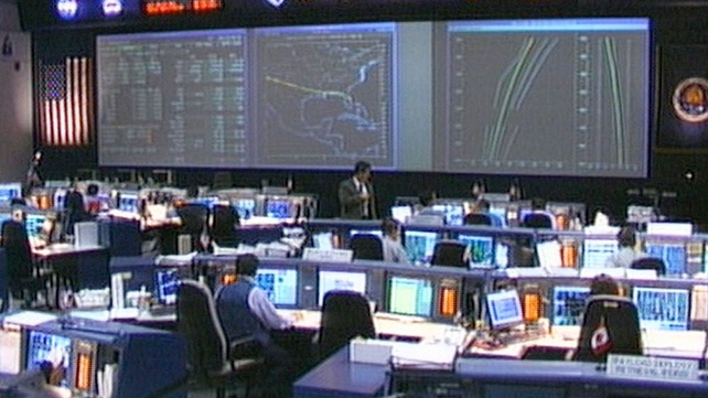 This image from video shows NASA Mission Control shortly after contact was lost with the Space Shuttle Columbia