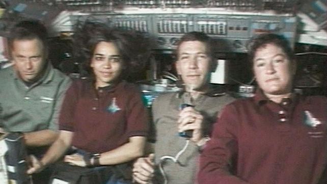 (L-R) Payload Specialist Ilan Ramon, Mission Specialist Kalpana Chawla, Commander Rick Husband and Mission Specialist Laurel Clark