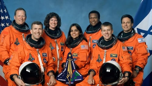 Crew of the Columbia - (seated L-R) Rick D. Husband, mission commander; Kalpana Chawla, mission specialist; and William C. McCool, pilot; (standing L-R) David M Brown, Laurel B Clark, and Michael P Anderson, all mission specialists; and Ilan Ramon, payloa