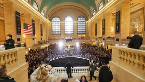People gather in Grand Central Terminal during centennial celebrations on the day the famed Manhattan transit hub turns 100 years old in New York City