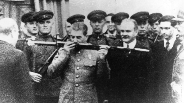 December 1943: British prime minister Winston Churchill presenting premier Joseph Stalin of Russia with the Sword of Stalingrad in acknowledgement of the Russian people's heroic stand