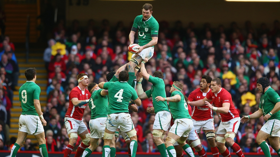 Donnacha Ryan claims a lineout as Ireland began their disappointing Six Nations campaign with a win over Wales in the Millenium Stadium