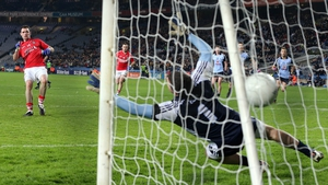 Donncha O'Connor scores a goal for Cork in their National League encounter with Dublin