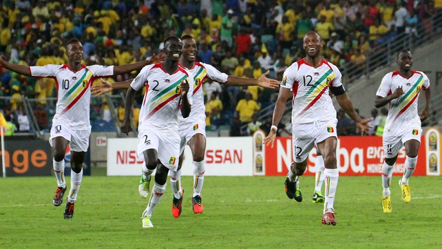 Mali players celebrate after their penalty shoot-out victory over South Africa