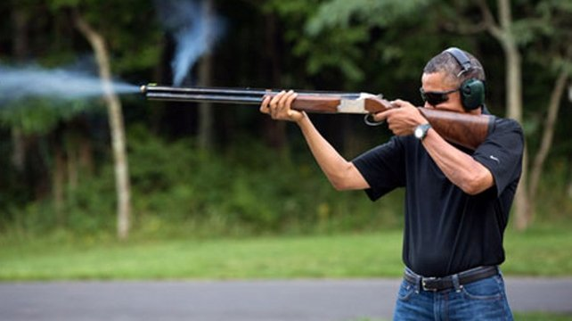 The photo shows Barack Obama shooting at clay targets on the range at Camp David (Pic: White House)