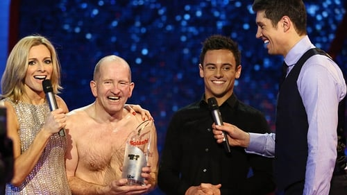 The champ with Splash! hosts Gabby Logan and Vernon Kay and mentor Tom Daley