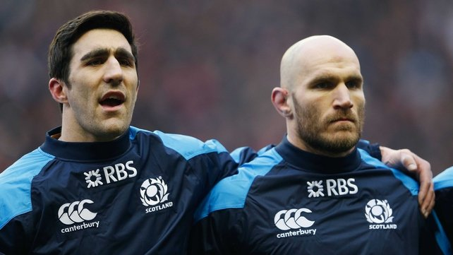 Scotland captain Kelly Brown (left) may have to face Italy next Saturday without back rower Alasdair Strokosch (right)