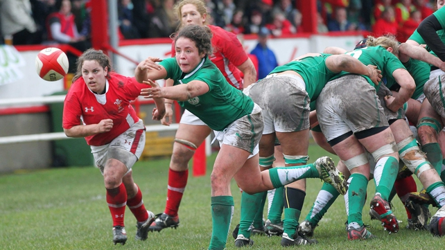 Ireland's Larissa Muldoon releases a pass against Wales