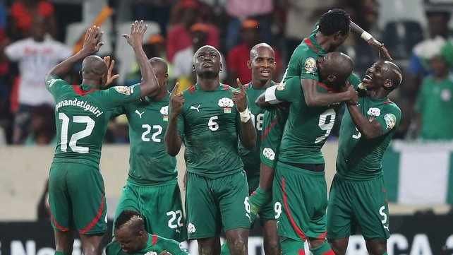 Jonathan Pitroipa of Burkina Faso celebrates his winner against Togo