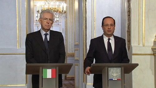 Francois Hollande (right) said the increasing strength of the euro is concerning