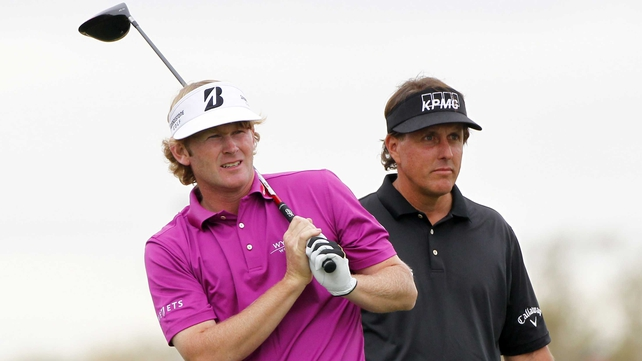 Brandt Snedeker (left) was unable to catch Phil Mickelson (right)