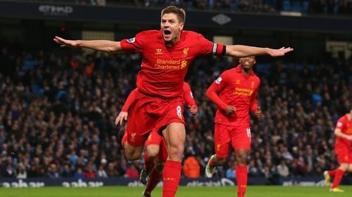 Gerrard celebrates his spectacular finish against Manchester City