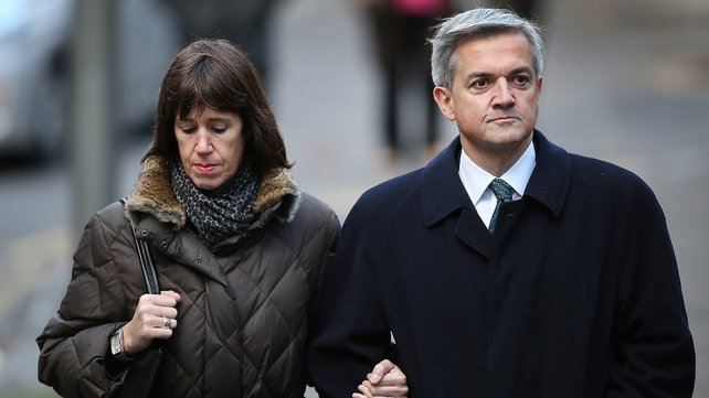 Carina Trimingham and Chris Huhne arrive at court this morning