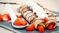 Avonmore strawberry and chocolate filled-pancakes - Served with luscious Avonmore Freshly Whipped Cream