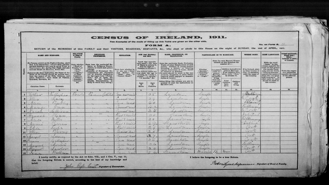 The 1911 Census figures from the Peacock Lane laundry in Cork