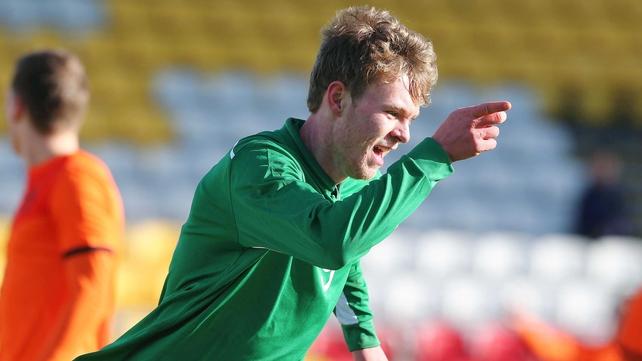Aiden O'Brien celebrates scoring Ireland's opener