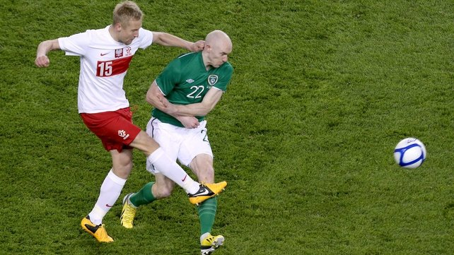 Conor Sammon made his debut as Ireland beat Poland 2-0