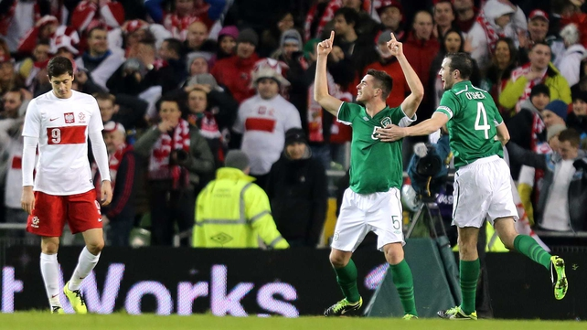 Ciaran Clark celebrates scoring the game's opener
