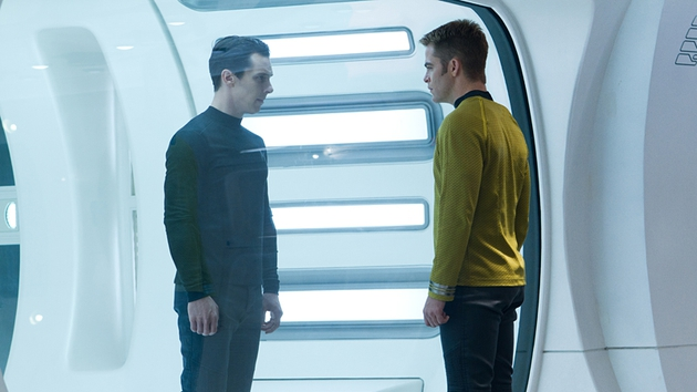 Cumberbatch and Pine in Star Trek: Into Darkness