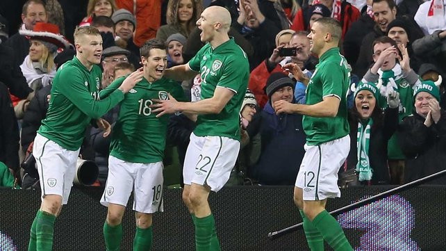 Wes Hoolahan celebrates his first international goal with team-mates James McClean, Conor Sammon and Jon Walters